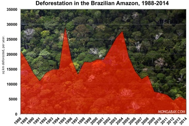 Deforestation rates in the Amazon decreased by 80% from 2004 to 2014. Photo credit: Mongabay.com.