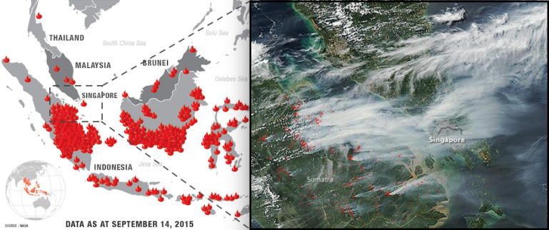 A map of active fires in Indonesia as of September, as well as satellite imagery of the thick Southeast Asian haze. Photo credit: The Malaysian Insider, NASA.