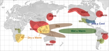 El Nino has varied effects on climate around the world. For Southeast Asia, it brings warmer and drier conditions than normal. Photo credit: NOAA.
