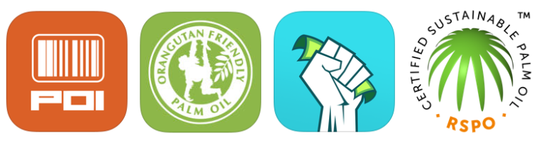 From left to right: The Palm Oil Initiative Barcode Scanner app, Cheyenne Zoo's Palm Oil Shopping Guide app, the barcode scanner app Buycott, and the logo for RSPO, indicating sustainable production of palm oil.
